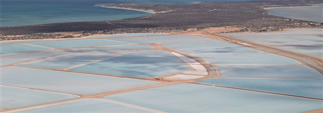 Aerial view of truck transporting salt at Shark Bay Resources.